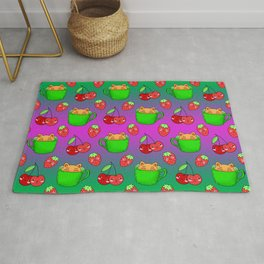 Cute happy funny Kawaii baby kittens sitting in little green espresso coffee cups, ripe yummy red summer cherries and strawberries fruity green and pink design. Rug