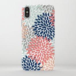 Floral Bloom Print, Living Coral, Pale Aqua Blue, Gray, Navy iPhone Case