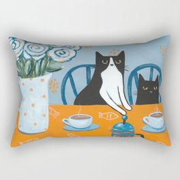 Cats and a French Press Rectangular Pillow