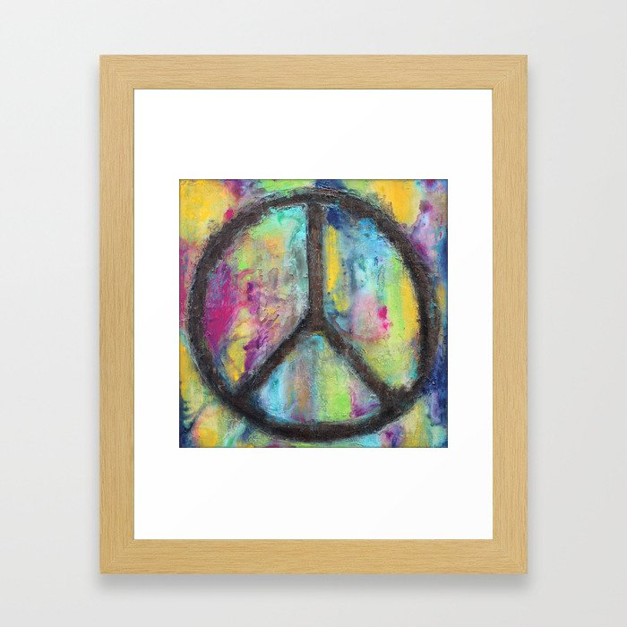 Tie Dye Peace Sign - Colorful Painting - Fluid Art Framed Art Print