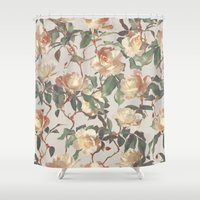 bedding Shower Curtains featuring Soft Vintage Rose Pattern by micklyn