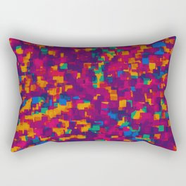 red blue orange and green drawing and painting square pattern background Rectangular Pillow