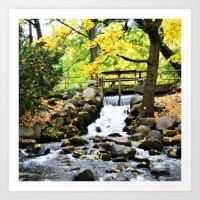 waterfall Art Prints featuring Waterfall by Juliana RW
