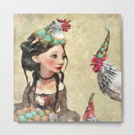 Three French Hens Metal Print