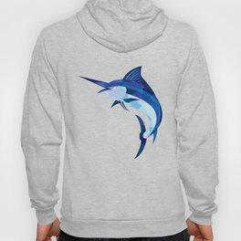 Blue Marlin Fish Jumping Low Polygon Hoody