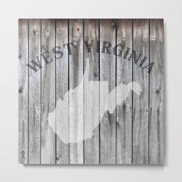 West Virginia State Map WV Home 304 Country Wood Rustic Metal Print