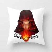 dark souls Throw Pillows featuring Dark Souls - Chaos Witch Quelana by Vivid-K