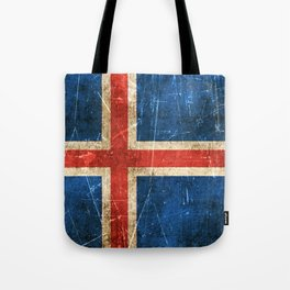 Vintage Aged and Scratched Icelandic Flag Tote Bag