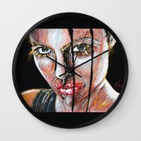 lara croft Wall Clocks featuring lara croft by lisylight