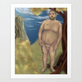 Nude Bear Leaning on a Tree Art Print