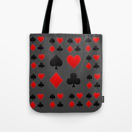 RED & BLACK PLAYING CARD  ART ON CHARCOAL GREY Tote Bag