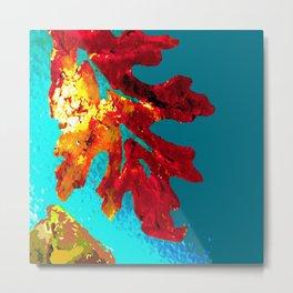 Flaming Orange Oak Leaf, painted acrylic, digitally altered Metal Print