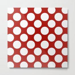 White & Red Navy Polkadot Pattern Metal Print