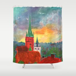 The Rooftops of Kuldiga Shower Curtain