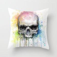 Skull Rainbow Watercolor Painting Skulls Throw Pillow