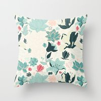 oriental Throw Pillows featuring Oriental Flora by Azulblau