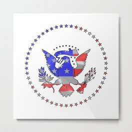 Stars And Stripes Inset Into American Eagle Icon Metal Print