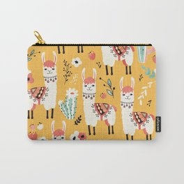 White Llama with flowers Carry-All Pouch