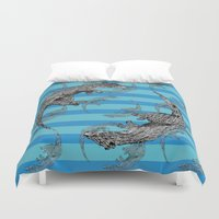 otters Duvet Covers featuring Swimming Otters by Curious Nonsense.