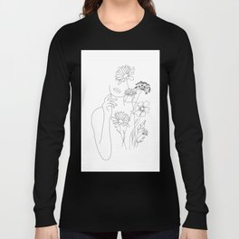 Minimal Line Art Woman with Flowers III Long Sleeve T-shirt