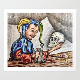 Poor Jester In Self Reflection Art Print