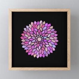 Flower Mandala Rose Gold And Purple Framed Mini Art Print