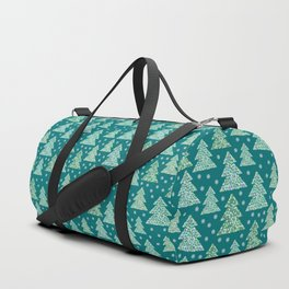 Winter design with mosaic forest in the snow Duffle Bag