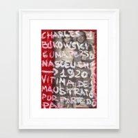 bukowski Framed Art Prints featuring Bukowski by Ibbanez