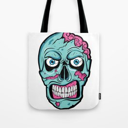 Scary Zombie Face with Rotting and Peeling Flesh Tote Bag