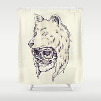 hat Shower Curtains featuring WOLF HAT by Mike Koubou