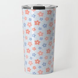Blue Pink Flower Pattern Travel Mug