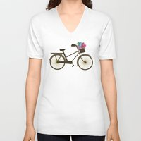 bike V-neck T-shirts featuring Bike by Juliana Zimmermann