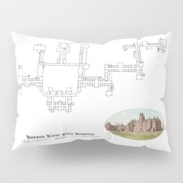 Hudson River State Hospital Blueprint Print Pillow Sham