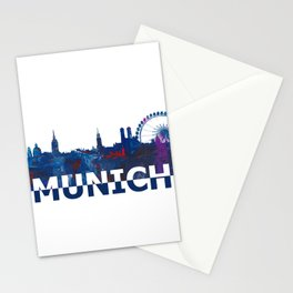 Munich Bavaria Skyline Silhouette Strong with Text Stationery Cards