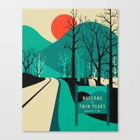 tv Canvas Prints featuring Twin Peaks by Jazzberry Blue