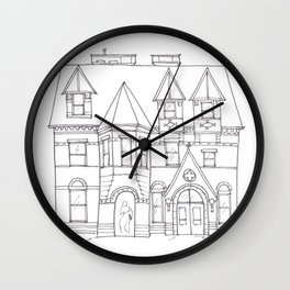 Library Line Drawing Wall Clock