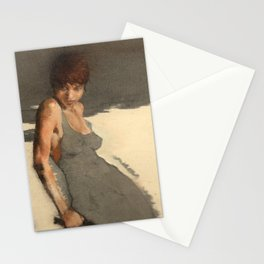 The Dress' Nude Figure Expressive Painting of Female Woman Black and White  Stationery Cards