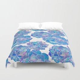 Rosette Succulents – Blue Palette Duvet Cover