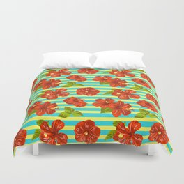 Summer Red Hibiscus Seamless Pattern Duvet Cover