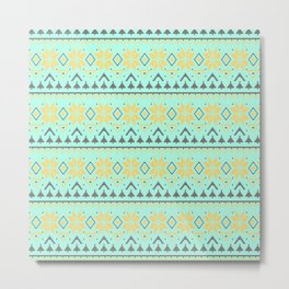 Knitted Christmas pattern turquoise Metal Print