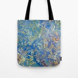 Blue Gold Swirls #2 Tote Bag