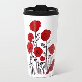 Tall poppies and red bird Travel Mug