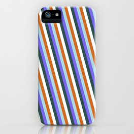 Light Blue, Medium Slate Blue, Dark Slate Gray, White, and Chocolate Colored Lined/Striped Pattern iPhone Case