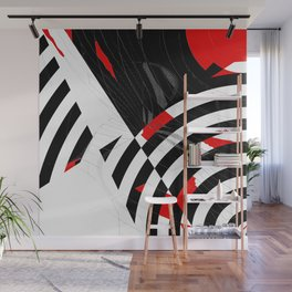 black and white meets red Version 8 Wall Mural