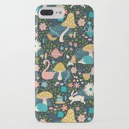 Wondering in Wonderland - Blue + Gold iPhone Case