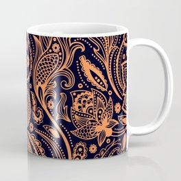 Orange on black floral paisley pattern Coffee Mug