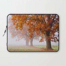 Oaks in the misty Autumn morning (Golden Polish Autumn) Laptop Sleeve