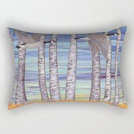 Canada geese, hedgehogs, and autumn birch trees Rectangular Pillow