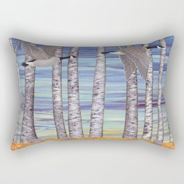 Canada geese, hedgehogs, and autumn birch trees Rectangular Pillow
