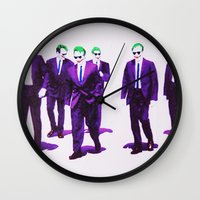 reservoir dogs Wall Clocks featuring JOKER DOGS reservoir dogs batman dark knight rises dc comics by Radiopeach